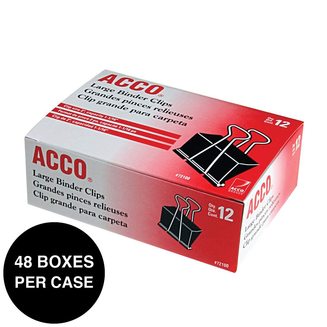 ACCO Binder Clips, Large, 1 Case, 48 Boxes/Case, 12 Clips/Box (72100) by ACCO Brands