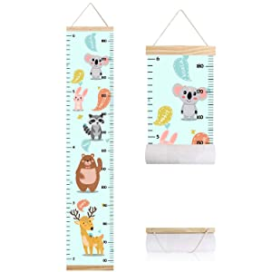 Animals Growth Chart for Kids, Baby Room Decor Height Chart, Canvas Height Measuring Rulers for Boys Girls with Wooden Frame (Animals 4)