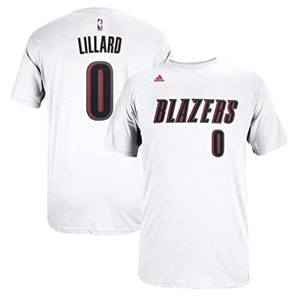 e0f878e3 Damian Lillard Portland Trail Blazers NBA Adidas Men White Official Player  Name & Number Jersey T