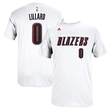 new concept 46373 0aa5b Damian Lillard Portland Trail Blazers NBA Adidas Men White Official Player  Name   Number Jersey T