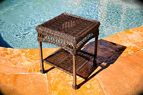 Tortuga Outdoor Portside Side Table, Dark Roast