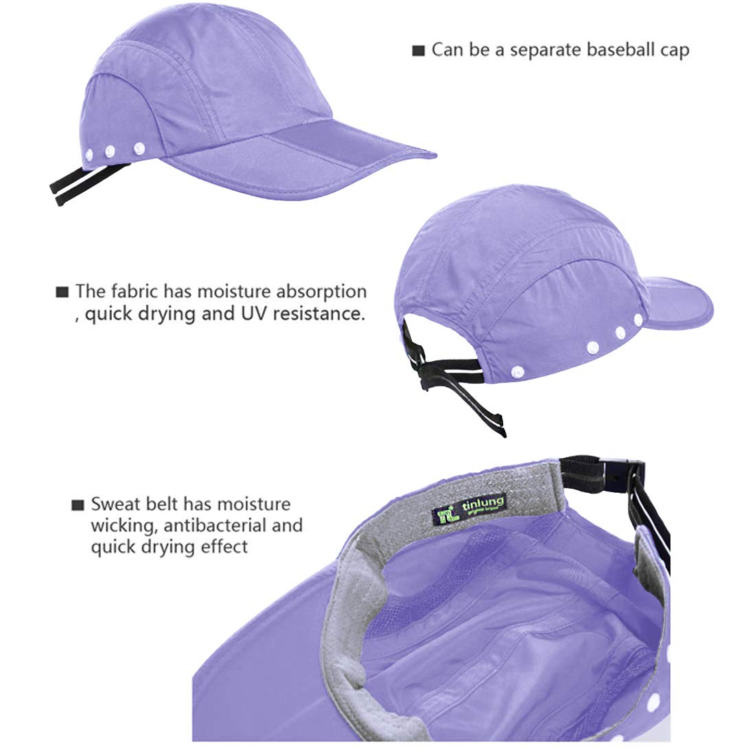 TINLUNG Sun Caps UV Protection UPF 50+Flap Hats Removable Face Neck Flap Cover Caps Shade Hat for Women Men Baseball Backpacking Cycling Hiking Fishing Garden Hunting (Violet