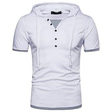 Sudaderas con Capucha Casual Hombre, Panel de Manga Corta para Hombre, Camiseta con Capucha: Amazon.es: Ropa y accesorios