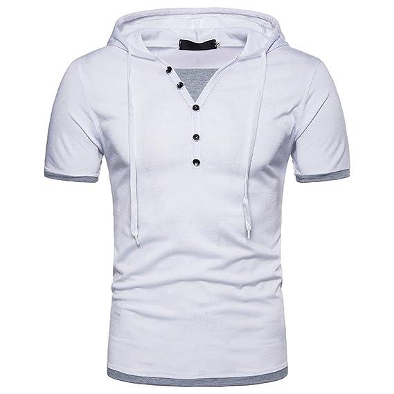 90d58123045d8 CIELLTE T-Shirt Homme Casual,Hommes Été T-Shirt Slim Fit Col Boutons ...