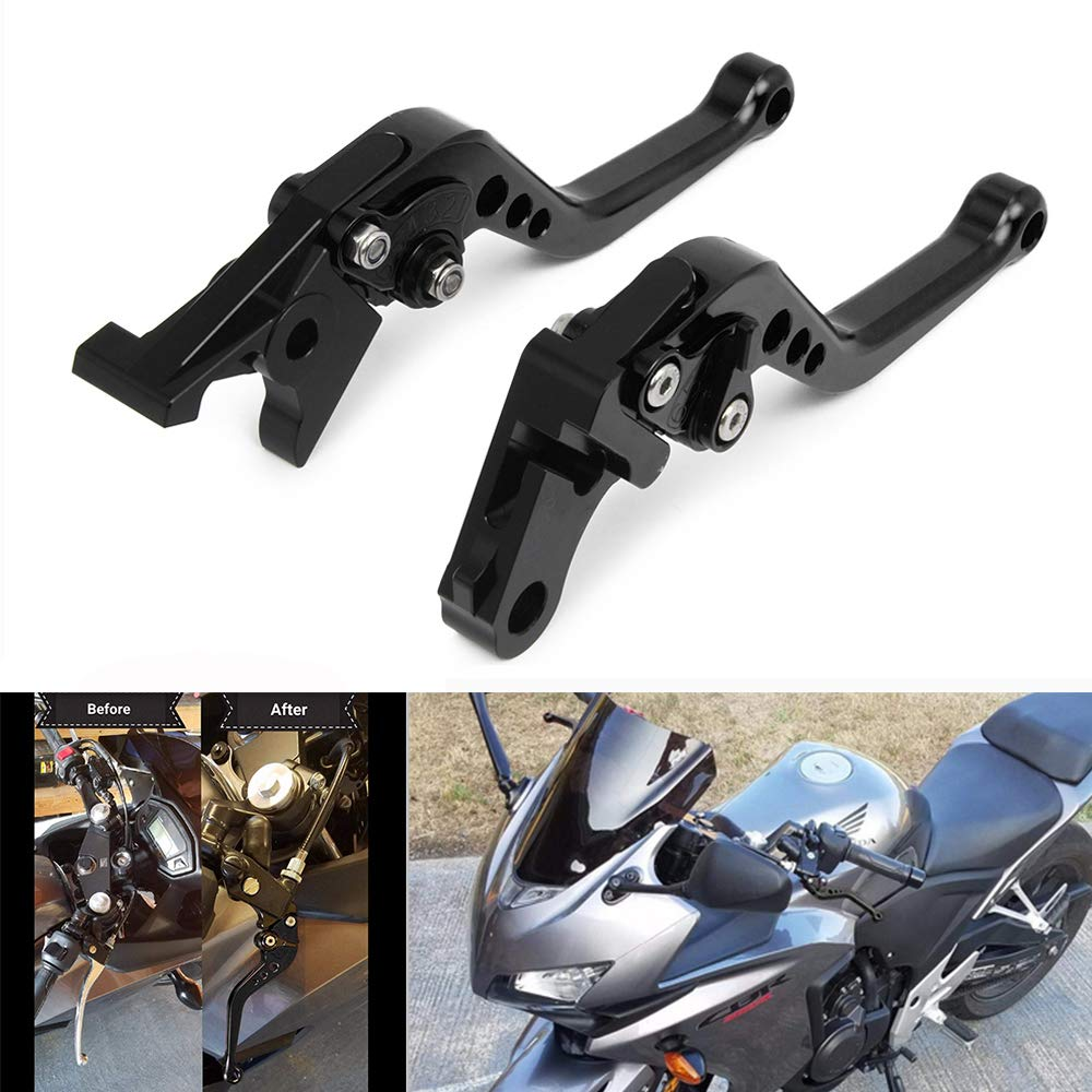 JFG RACING CNC Short Adjustable Brake Clutch Levers For Honda VT750 Phantom//Shadow 10-17,Black Spirit 14-16,Fury//VTX1300CX 11-17,CMX 500//300 Rebel 2017,Black