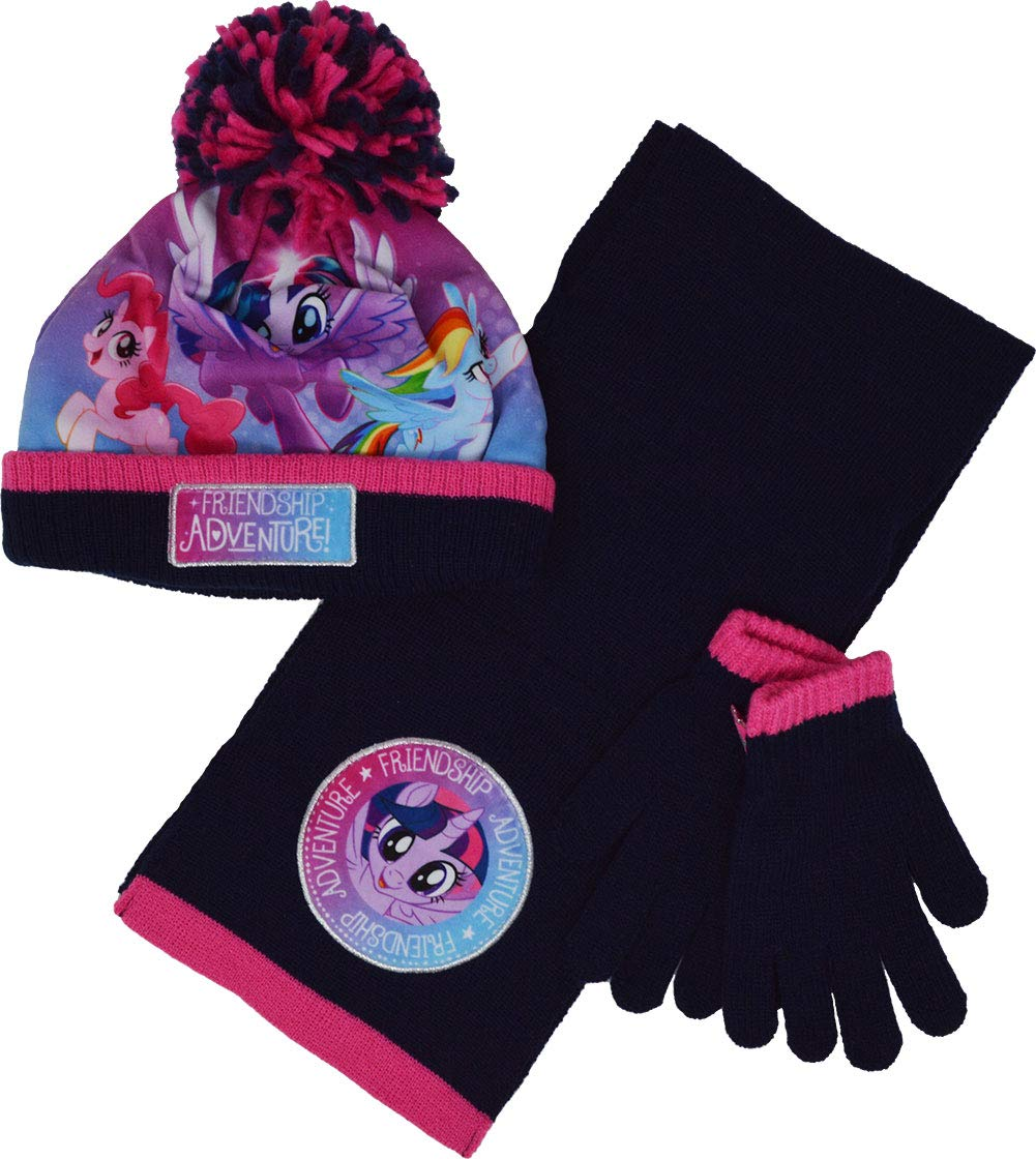 Kids My Little Pony Hat Scarf and Gloves Winter Set