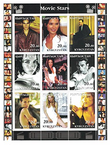 Stamps for collectors - Movie Stars perforated stamp sheet featuring actors Joaquin Phoenix / Halle Berry / James Dean / Kevin Spacey / Kyrgyzstan