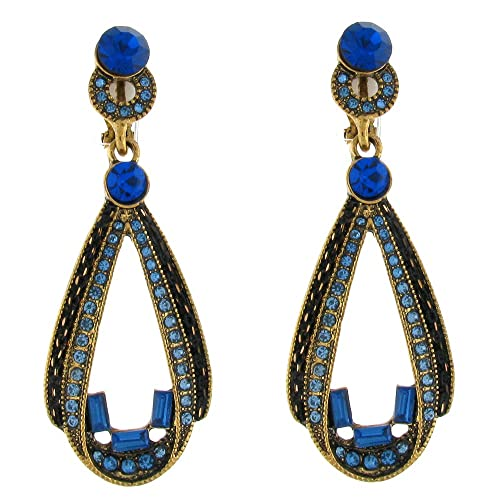 4a7a3c882 Clip On Earrings Store Sapphire Blue Crystal Open Teardrop Vintage Clip on  Earring