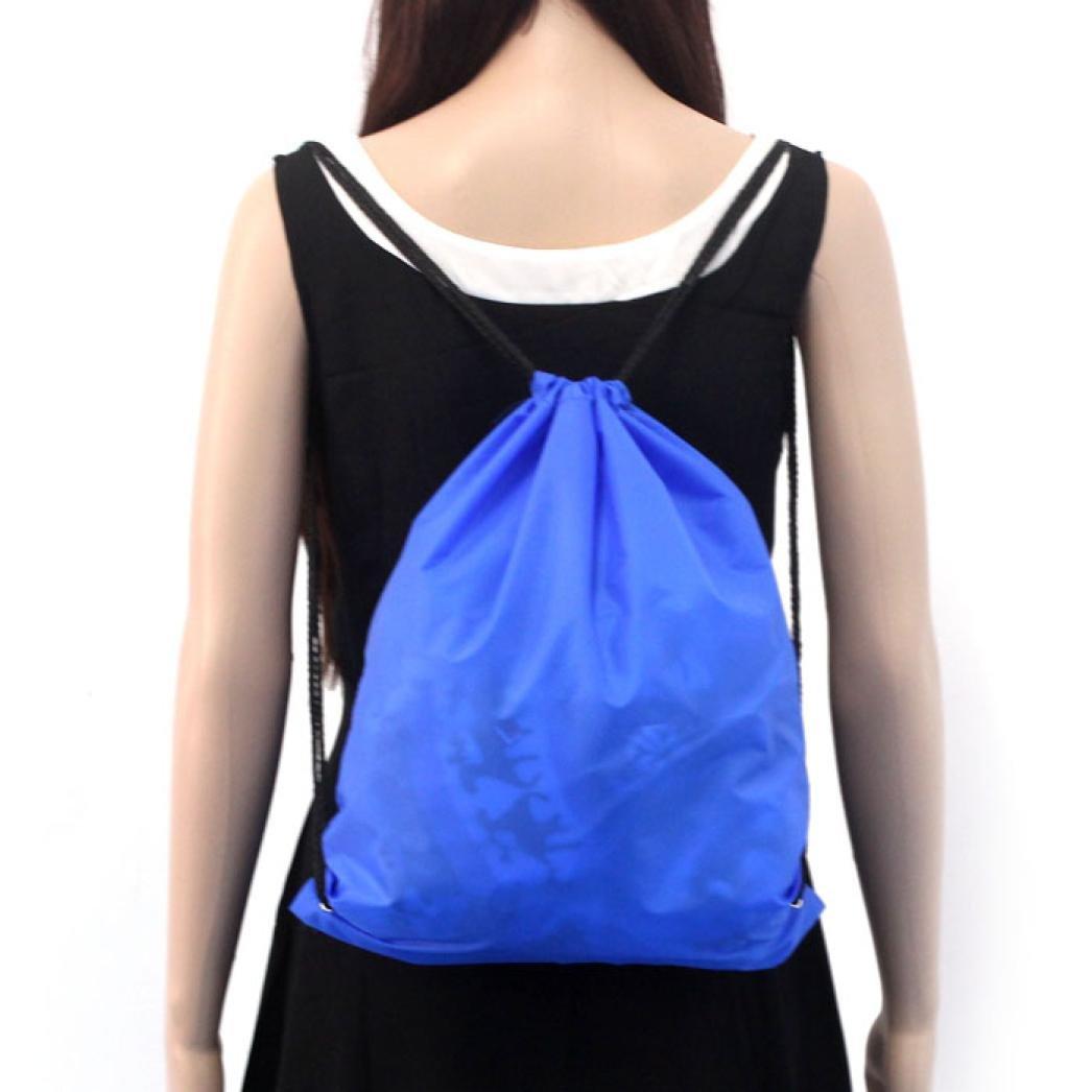 Rakkiss Unisex Retro Geometric Backpacks Printing Bags Drawstring Backpack Nylon Sport Beach Travel Outdoor Backpack Bags (A)