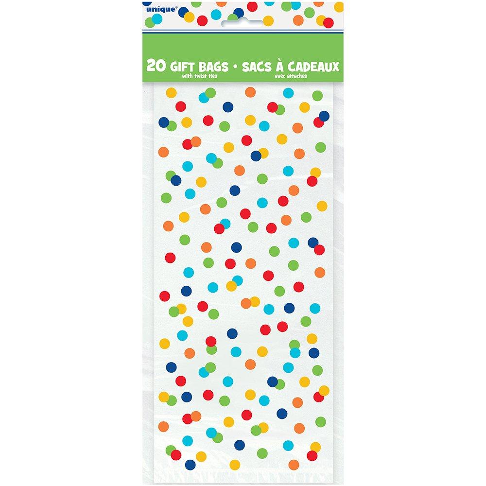Bandera de fiesta dise/ño de lunares de colores con texto en ingl/és