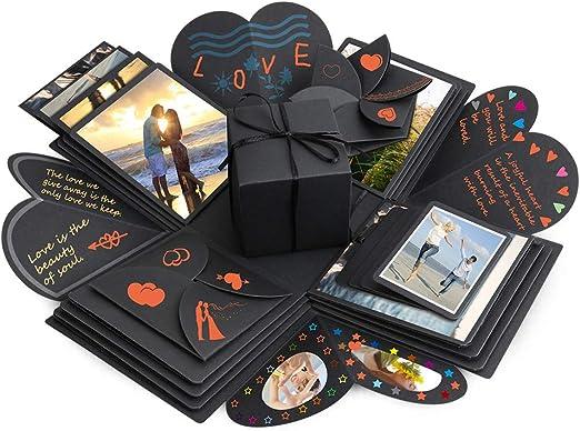 Komake - Caja sorpresa, caja de explosión, regalo de manualidades, álbum de recortes y de fotos para Navidad, San Valentín, aniversario, cumpleaños, boda, color negro: Amazon.es: Juguetes y juegos