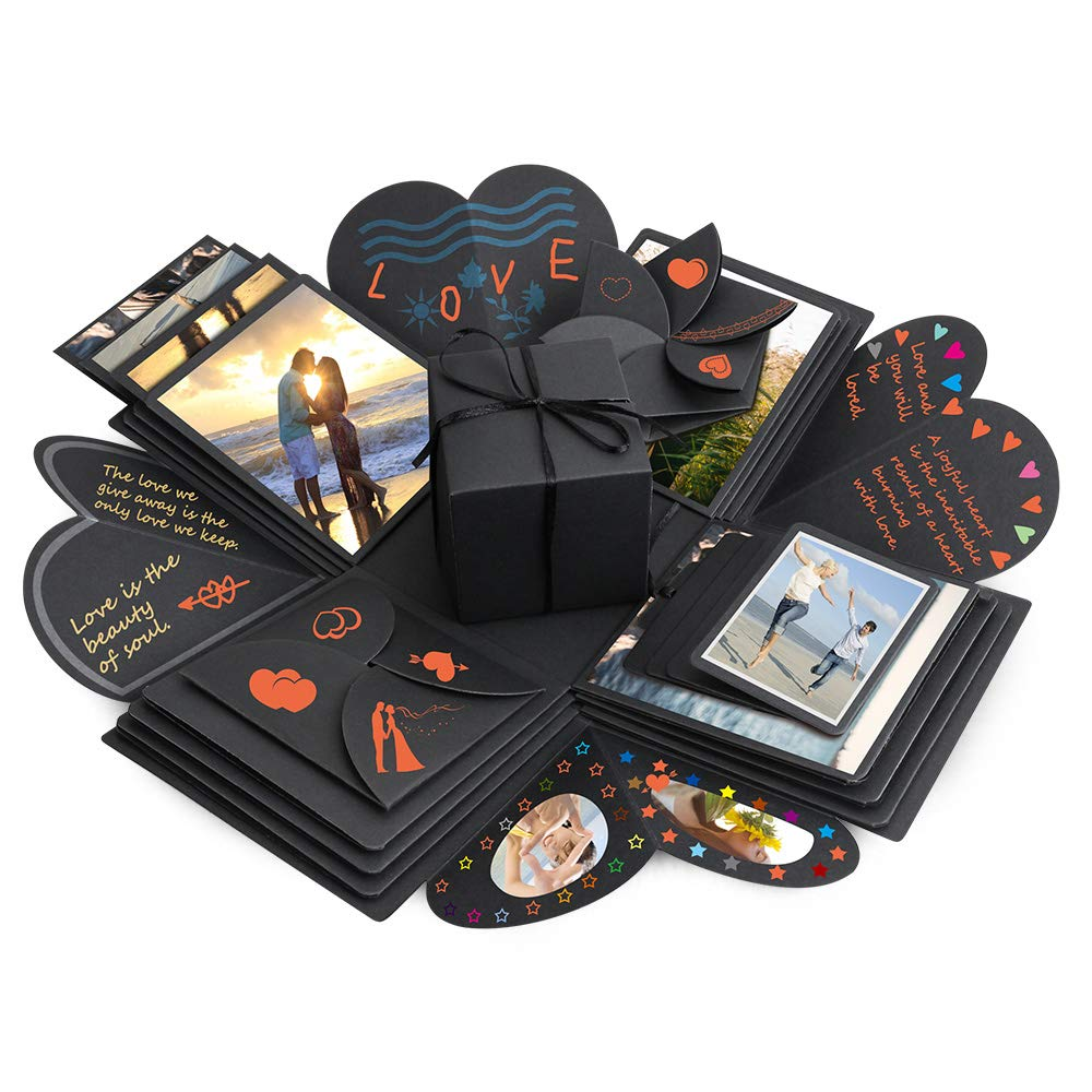 Explosion Box, Komake Surprise Box, DIY Scrapbook with Small Gift Box, Handmade Photo Albums for Christmas/Valentine/Anniversary/Birthday/Wedding (Black)