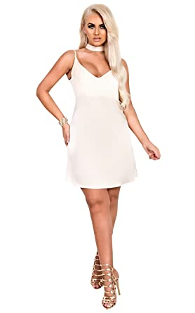 b6467d1aff1c IKRUSH Womens Tilly Choker Neck Slip Dress Beige at Amazon Women's ...