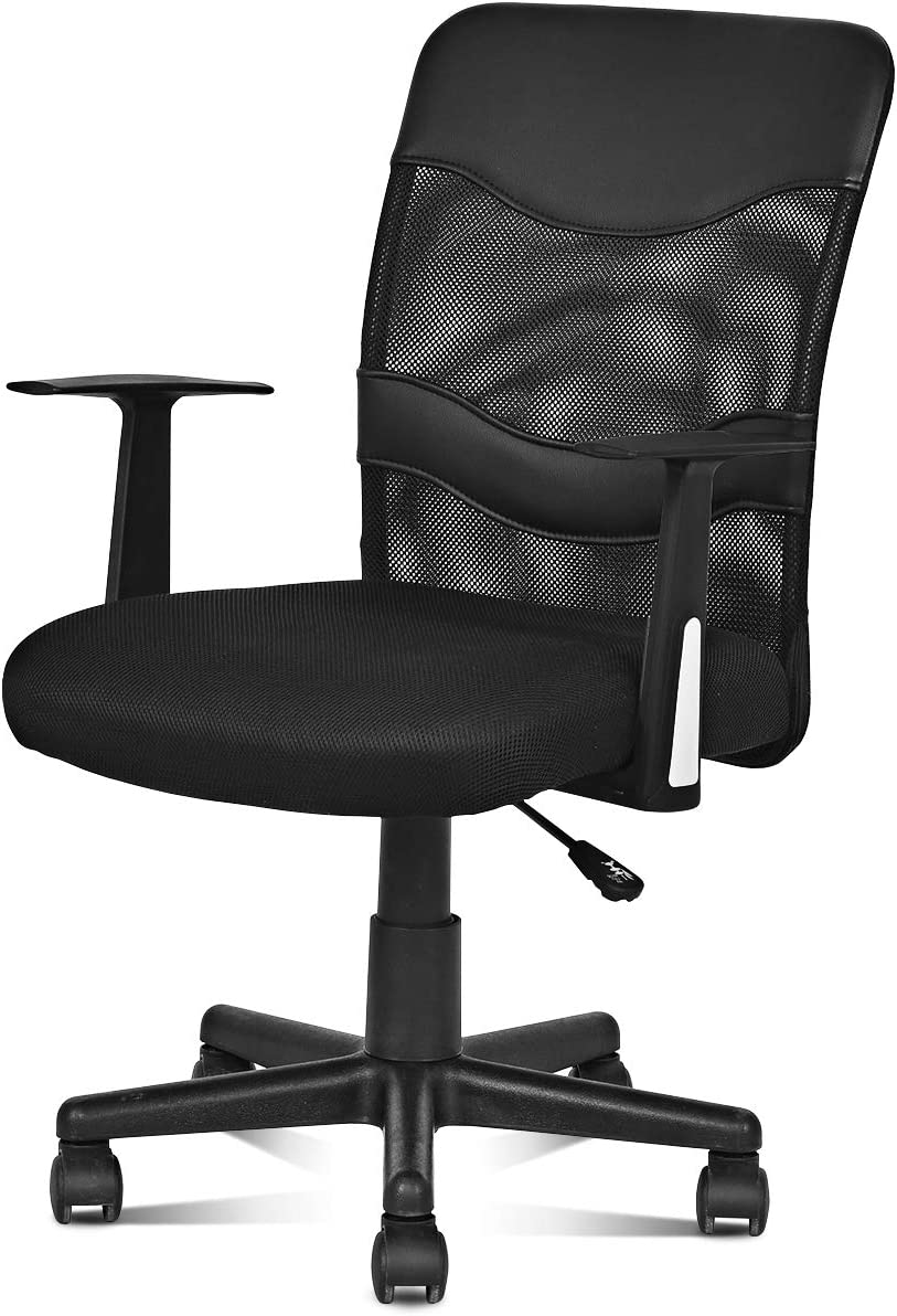 Giantex Office High Back Swivel Computer Desk Task, Ergonomic Mesh Chair with Armrest, Black