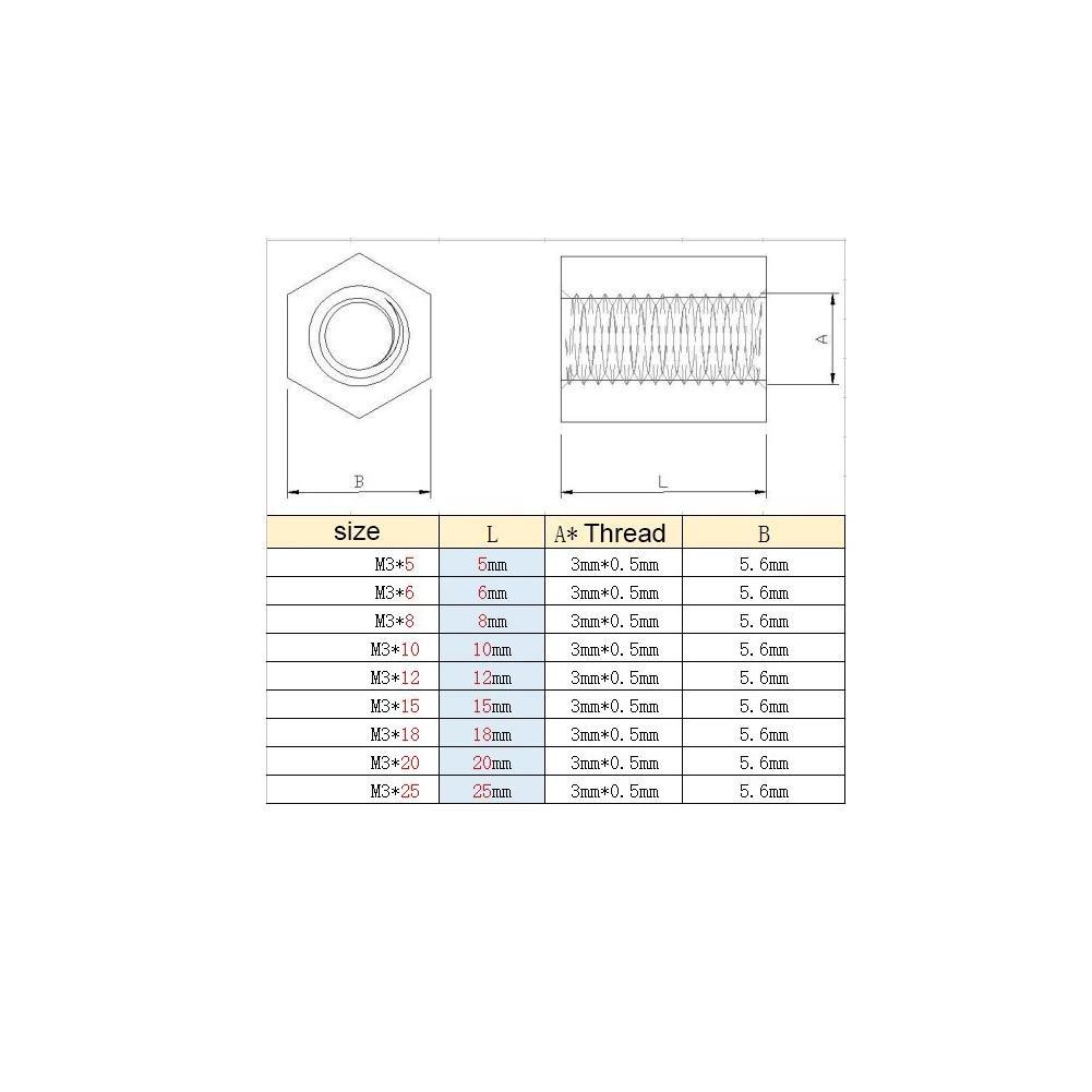 100 St/ücke Schwarz PA66 M3 Buchse /× M3 Innensechskant Gewinde Abstandshalter M3*15mm