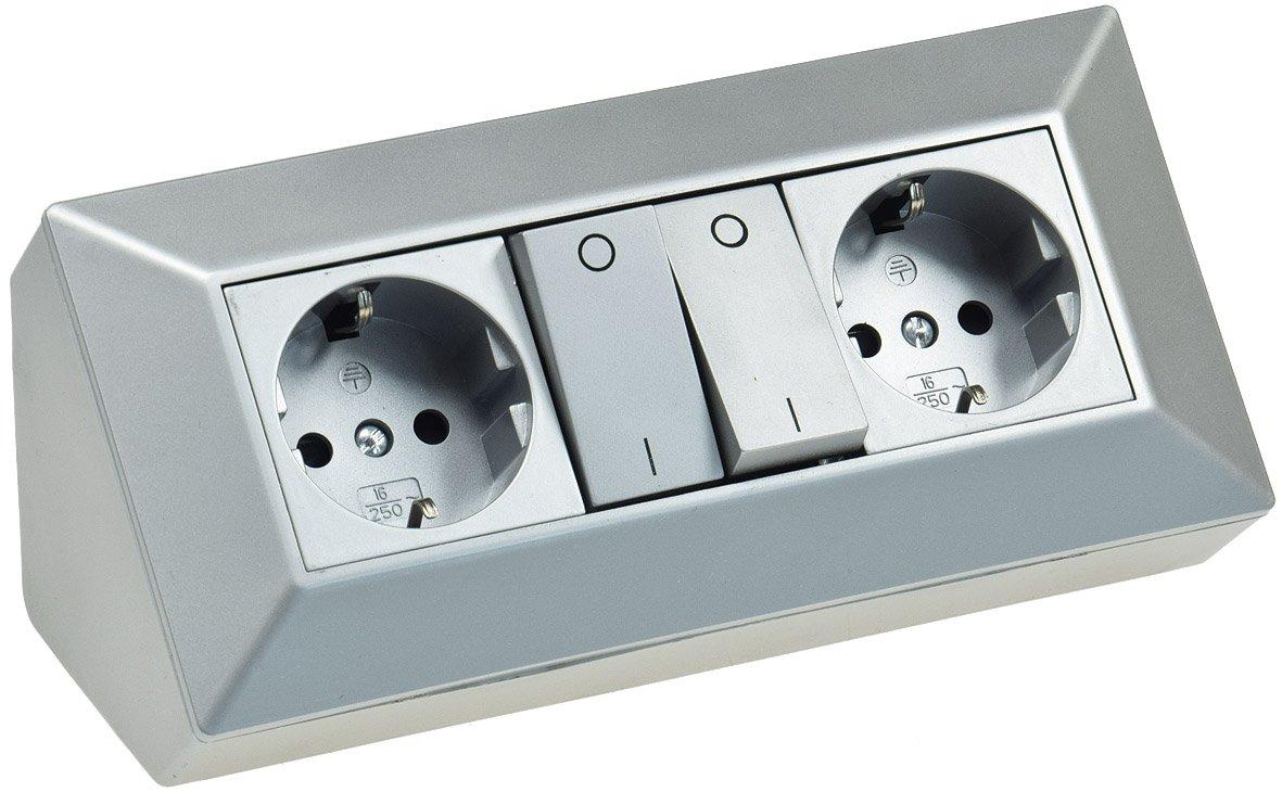 3-fach Steckdosenblock silber 230V Aufbaumontage 45° für Arbeitsplatte Küche, Werkstatt ChiliTec 21666