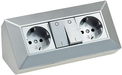 Enchufe bloque Plata 230 V montaje 45 ° para encimera de ...