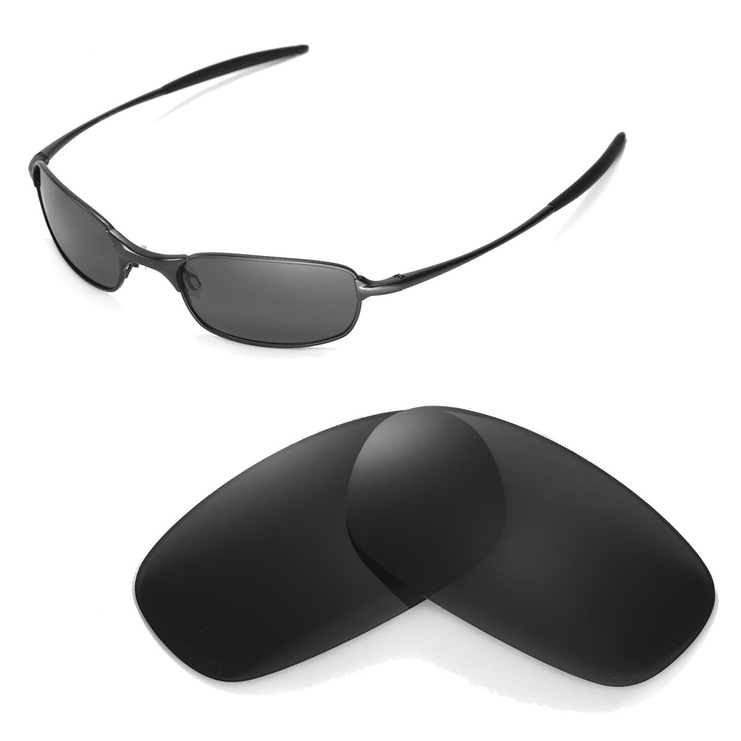 2f9a928894 Walleva Polarized Black Replacement Lenses for Oakley Square Wire ...