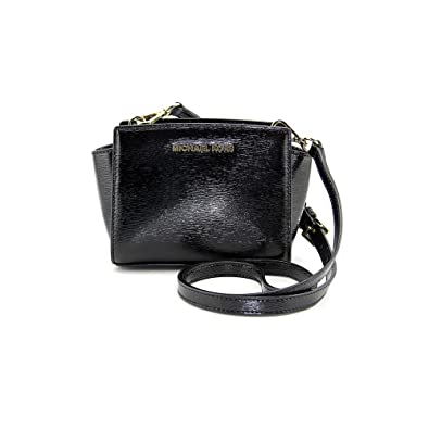 cf22af8ae018 Image Unavailable. Image not available for. Color  Michael Kors Selma Mini  Messenger Black Patent Leather NEW