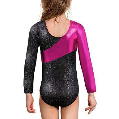 150ab88ab Amazon.com: Gymnastics Long Sleeve Leotards for Girls Dance Ballet Sparkle  Ribbons Dancewear: Clothing