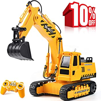 DOUBLE E Remote Control Excavator Toys Fully Functional Construction  Tractor, Rechargeable Rc Excavator 1:20 RC Excavator Truck with Lights &  Sounds