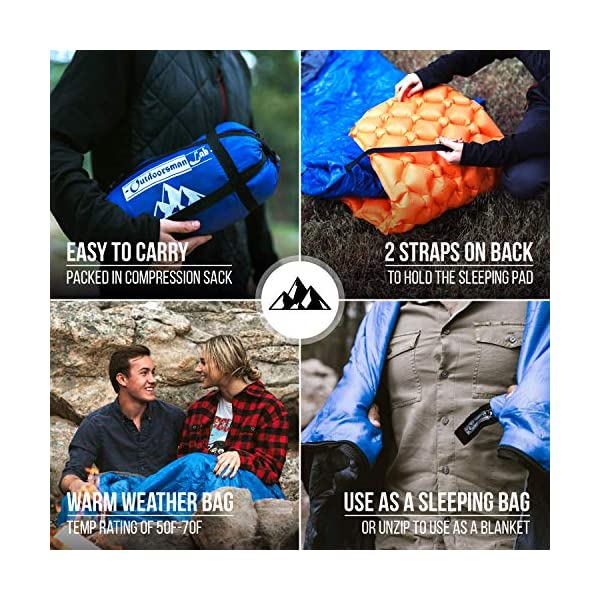 OutdoorsmanLab Sleeping Bag | 50-70F Warm & Cool Weather | Ultra Lightweight & Compact for Camping, Backpacking, Outdoor Events | for Adults & Kids | Includes Compression Sack 4