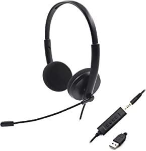 Computer Headset with Noise-Cancelling Microphone, Laptop Headset with Built-in Microphone, PC Headset, USB Headset with Mute Control, Detachable 3.5mm Audio Cable for Skype Chat and Office Headset.