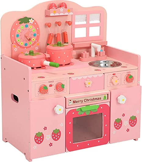 Amazon Com Kitchen Playset Deluxe Large Pink Strawberry Kids Pretend Kitchen Wooden Children S Cooking Role Play Toys Set Kids Play Kitchen Color Pink Size 55x62x31cm Home Kitchen