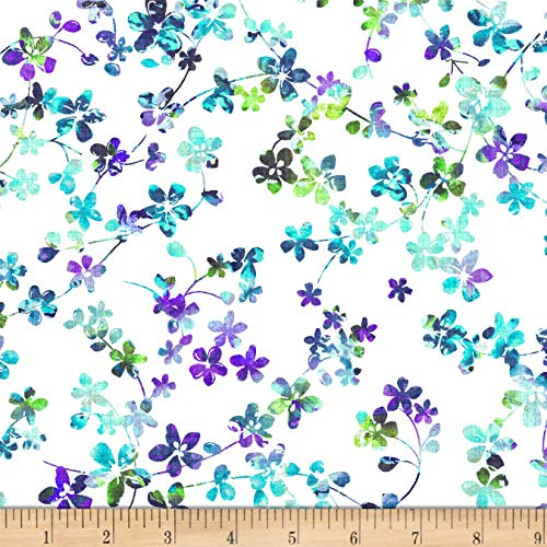 Studio E Fabrics Watercolor Meadow Digital 108in Wide Back Floral Light Blue/Lavender Fabric by The Yard
