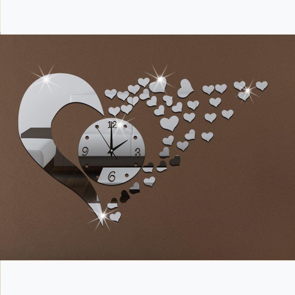 Amazoncom 3D Acrylic Mirror Wall Sticker Clock Decoration Decor