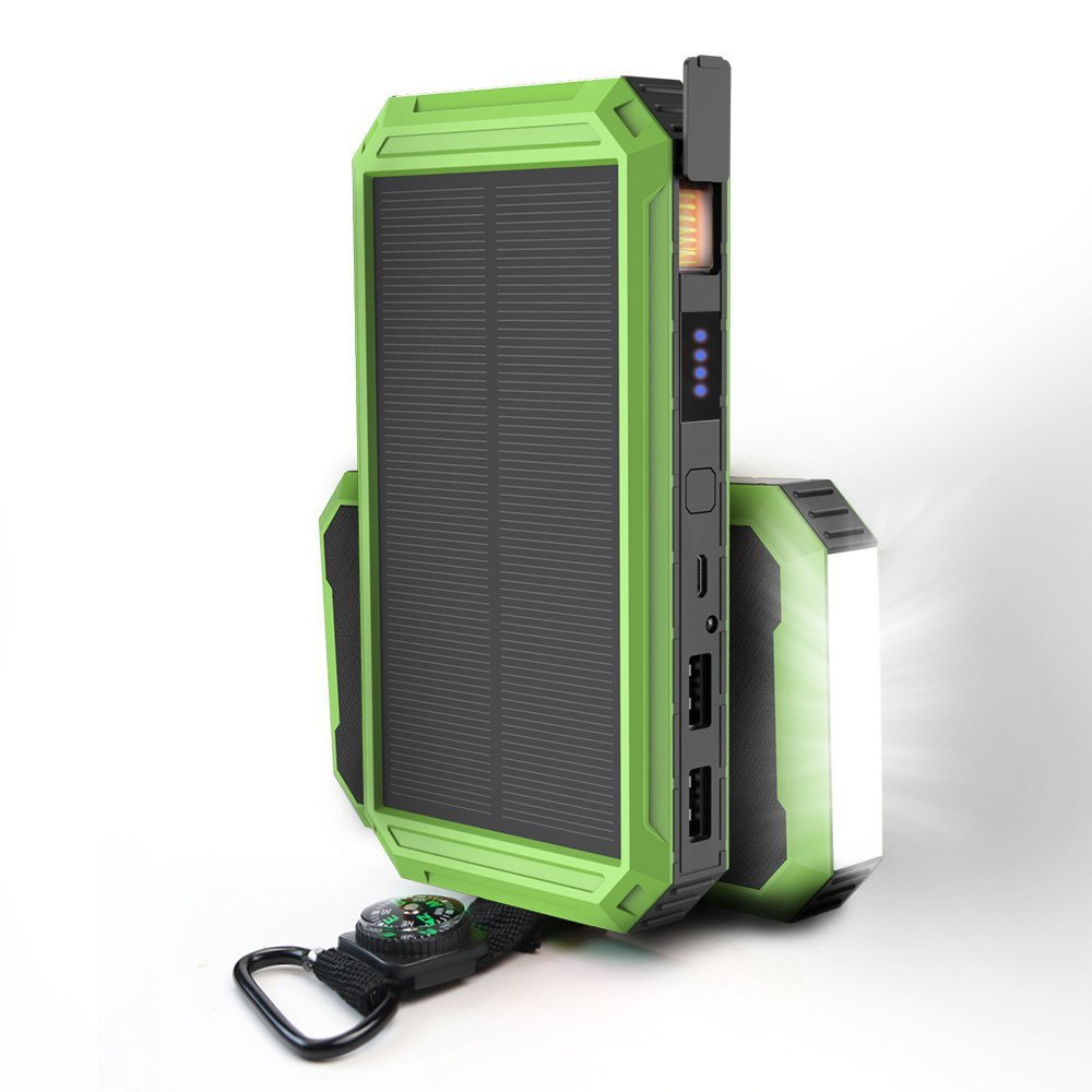 X-DRAGON Solar Charger, 15000mAh Dual USB Solar Battery Charger with Cigarette Lighter, Bright LED Light for Cell phone,iphone8 7plus/6/6s/5,Samsung,Android Smartphone and More-Green
