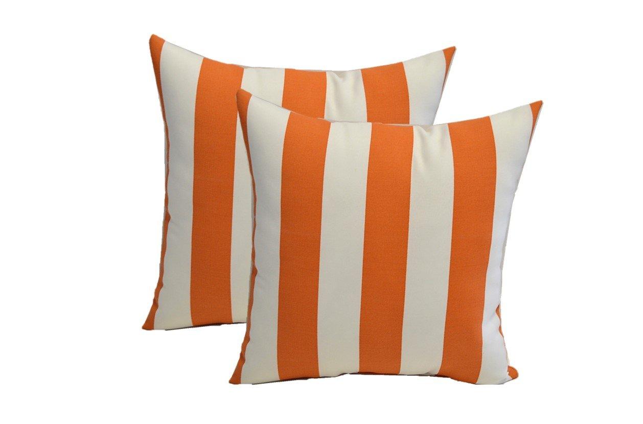 Resort Spa Home Decor Set of 2 Indoor/Outdoor 20'' Decorative Throw Pillows - Orange & White Stripe Fabric