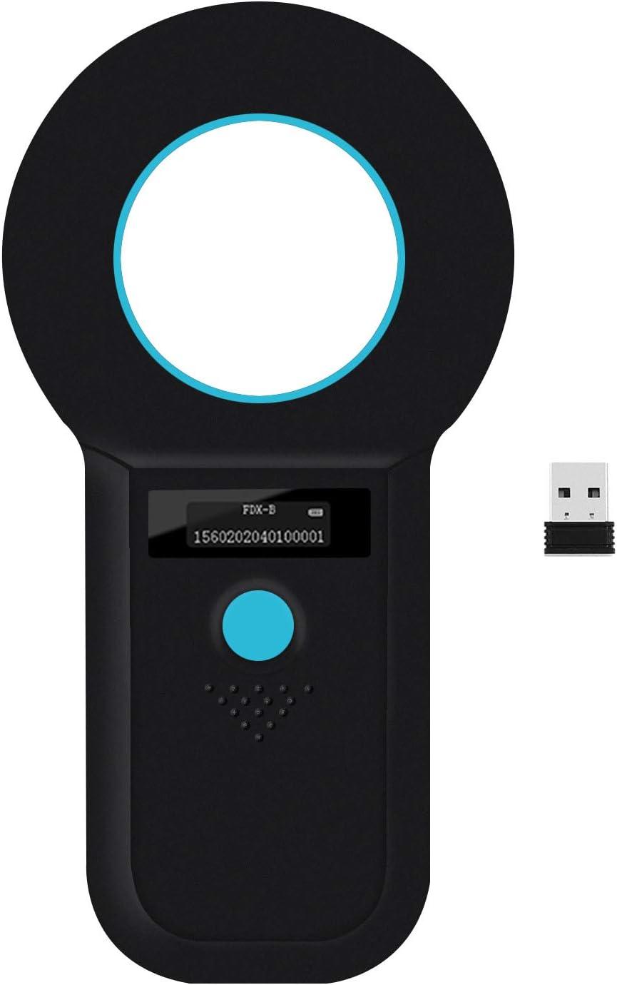 Smoostart Wireless Bluetooth Pet Microchip Scanner, 134.2kHz/125kHz ISO11784/85/FDX-B/EMID RFID Data Storage Upload to Pc and Mobile Phone Microchip Reader for Animal/Pet/Dog/Cat/Pig (Black)
