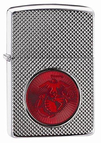 Zippo USMC Red Logo Armor High Polish Chrome Pocket Lighter