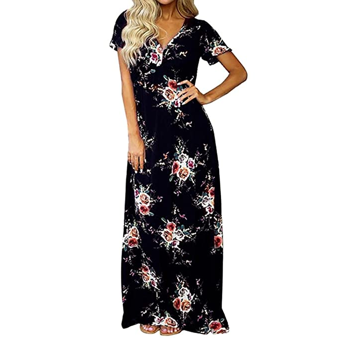 Maxikleid Elegant Damen V-Ausschnitt Kleider, KingProst Floral ...