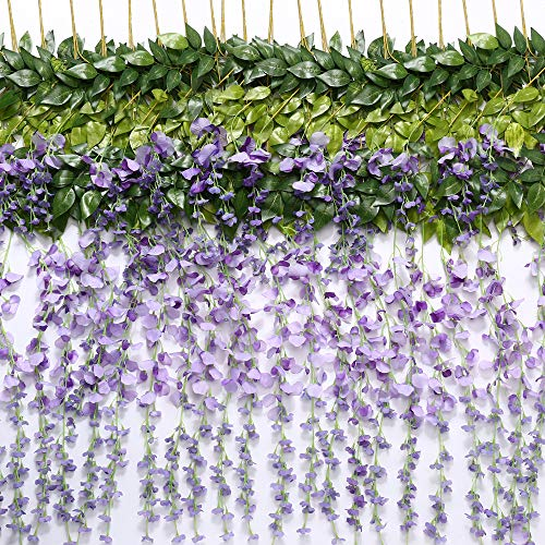 TRvancat Artificial Wisteria Hanging Vine 12 Pack 3.6FT/pcs, Fake Silk Flowers in Natural Chain Garland for Outdoor Wedding Ceremony Arch Party Home Garden Decor (Purple)