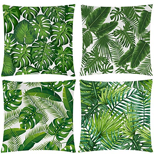 Wilproo Green Tropical Leaves Throw Pillow Covers, Set of 4 18x18 Cotton Linen Durable Sturdy Decorative Pillowcase w/Hidden Zipper for Sofa Couch Bench Car Decor