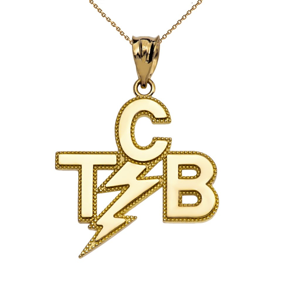 Taking Care of Business In A Flash (TCB) 10k Yellow Gold Pendant Necklace, 20''