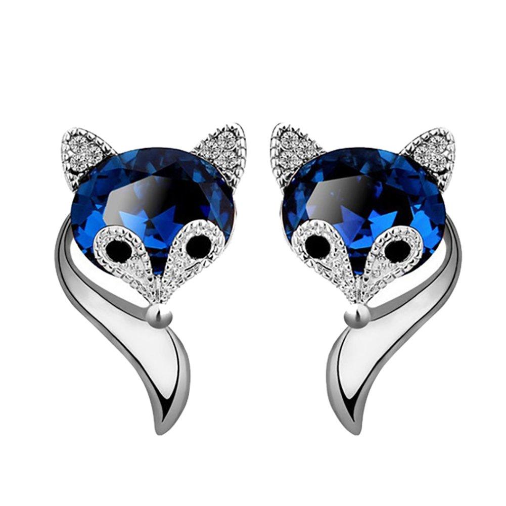 Wintefei Cute Cartoon Fox Shape Rhinestone Ear Studs Earrings Fashion Women Jewelry Gift - Silver