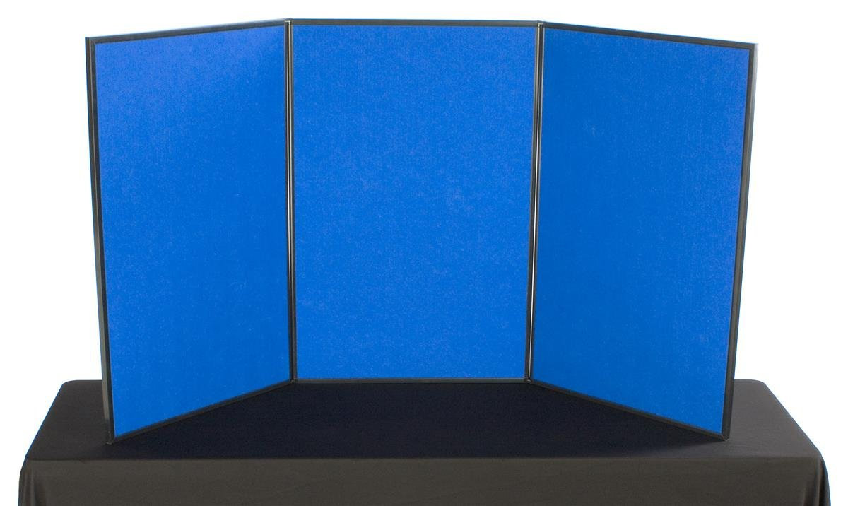 Displays2go Tri Fold 3-Panel Display Board, 72 x 36 Inches, with Blue Velcro-Receptive Fabric and Write-On Whiteboard (3PV7236BLU) by Displays2go