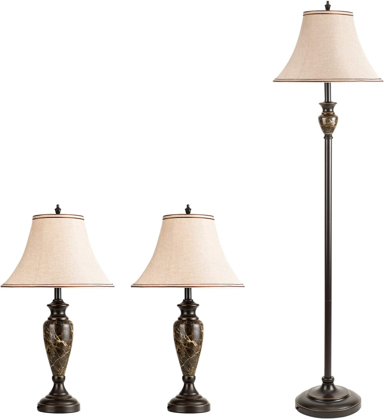 Shine Decor 3 Pack Lamp Set of 2 Table Lamps 1 Floor Lamp, ETL-Listed Lamp Set of 3 Vintage 3-Piece Lamps Pack with Fabric Brown Bell Lamp Base Resin Marble Décor, Bronze LED Lights for Bedroom Living