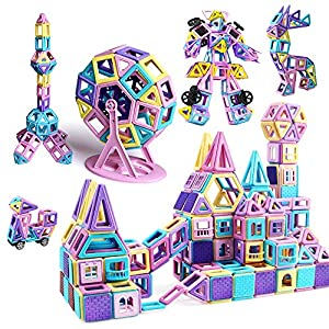 infinitoo Magnetic Blocks 146Pcs Lock Magnetic Blocks Building Blocks Children   3D Macaron Learning & Development…
