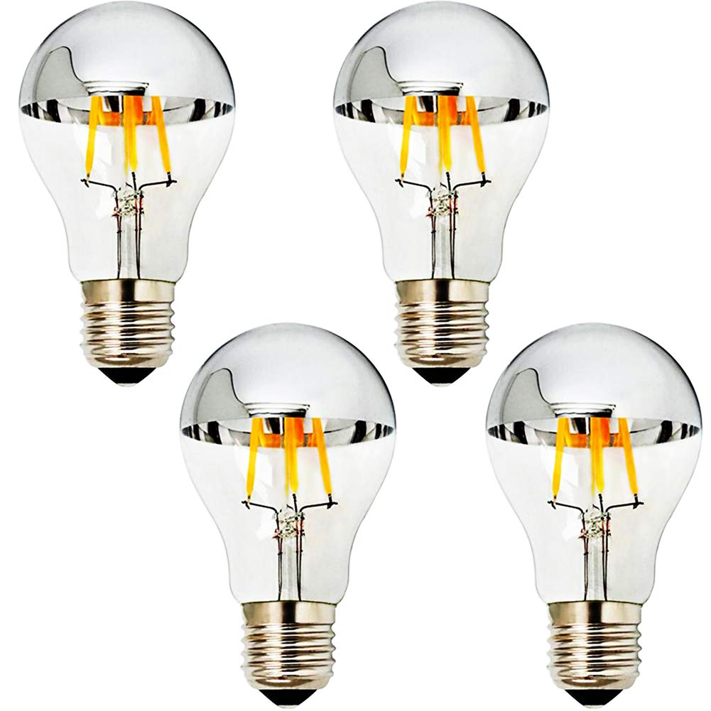 MD Lighting E27/E26 4W Half Chrome Light G25(G80), Warm White 2700K 40W Equivalent 360lm Led Globe Filament Vintage Bulbs with Silver Mirror for Indoor Dinning Room Living Room, 4-Pack, AC 110V