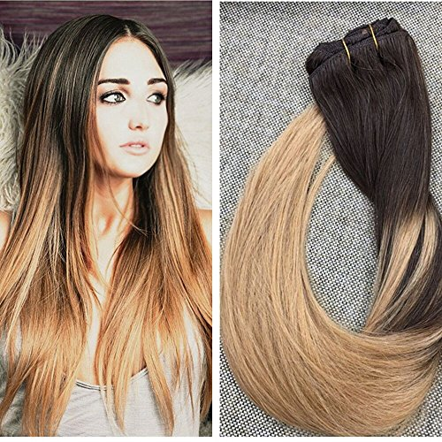 Ugeat 16 inch Clip in Ombre Hair Extensions 7Pcs 120 Gram Per Set Straight Hunman Hair Dip Dyed Color #4 Chocolate Brown Fading to Blonde #27 Full Head Clip in Hair Extensions