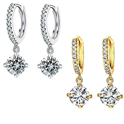 56b30a76bc6 Buy karatcart Platinum and Gold Plated Elegant Austrian Crystal Drop  Earrings for Women - Combo Pack Online at Low Prices in India