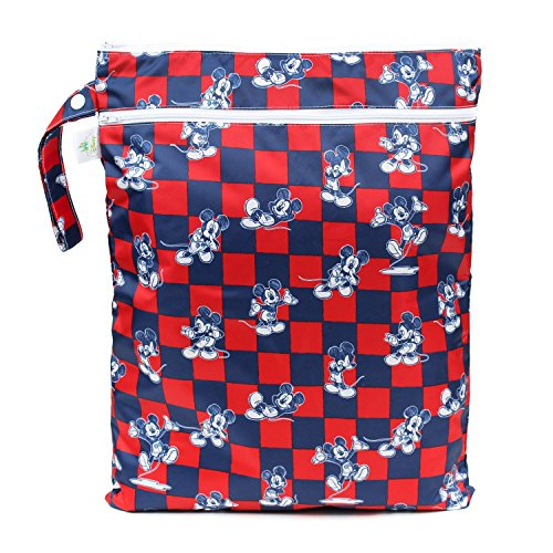 Bumkins Disney Baby Wet Dry Bag, Mickey Mouse Checkered