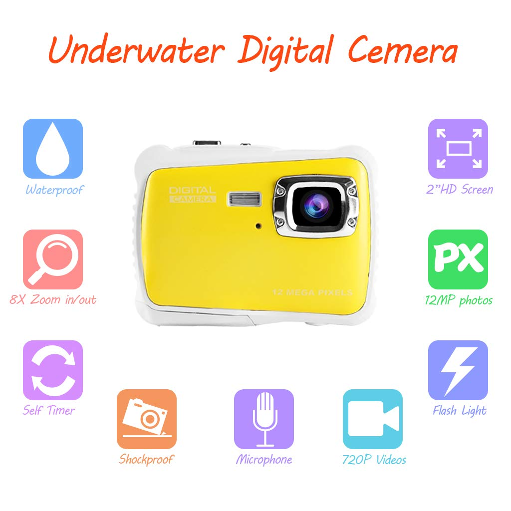 Underwater Camera for Kids, Waterproof Digital Camera Children Gift Mini Action Sport Camcorder 12MP HD/2.0 Inch LCD Display/8X Digital Zoom with 8GB SD Card & Batteries by Jamal (Image #3)