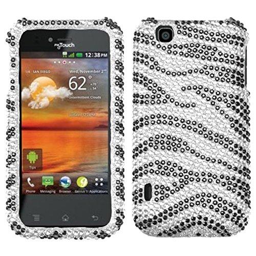 (Asmyna LGE739HPCDM010NP Dazzling Diamante Bling Case for LG myTouch E739 - 1 Pack - Retail Packaging - Black Zebra)