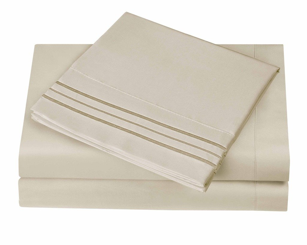 3 Line Microfiber 4 Piece Bed Sheet Set Queen, Cream