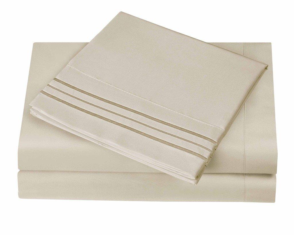 3 Line Microfiber 4 Piece Bed Sheet Set Queen, Cream